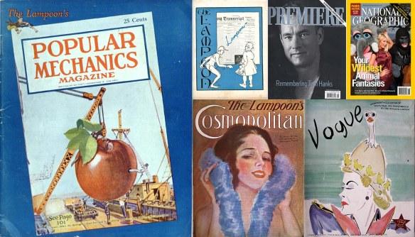 Covers of six Harvard Lampoon parodies