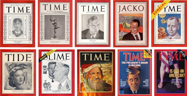 Mock Times from, top row: Annapolis (1928), Harvard's Advocate (1932) and Lampoon (1941), Dartmouth (1948), Ohio State (1948); bottom row: Alabama (1952), Davidson (1953), Punch (1960), National Lampoon (1984), Emory (1998).
