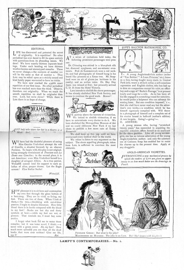 The Harvard Lampoon's first Life parody, 1896.