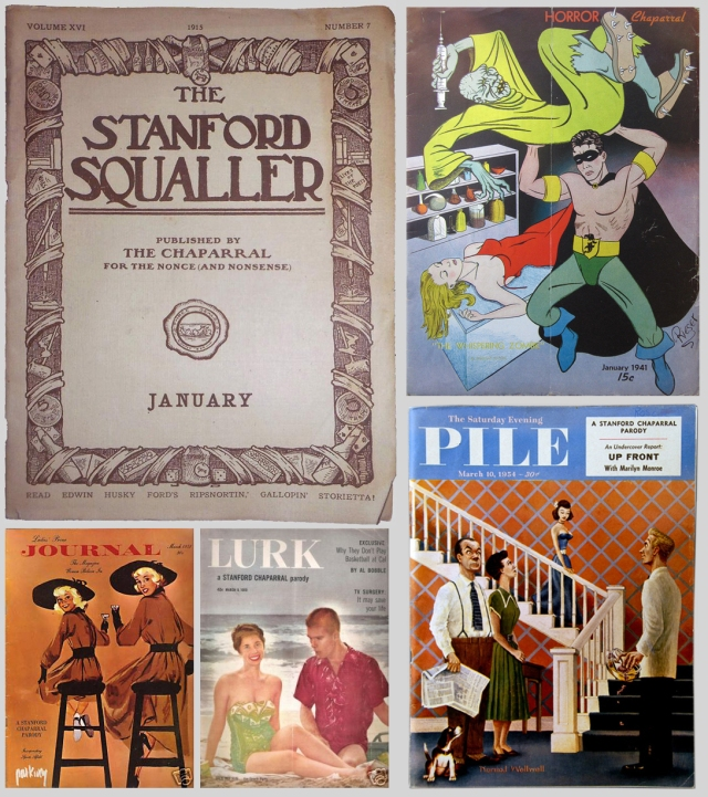Covers of five Stanford parodies