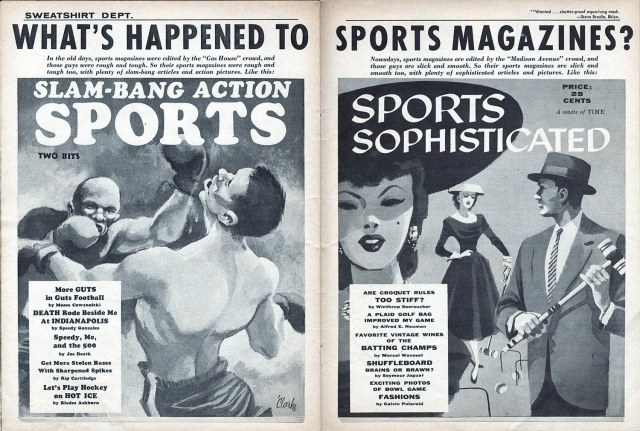 Two pages of Mad's article on sports magazines.