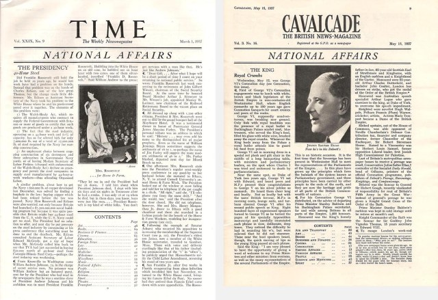 Inside pages of Time and Cavalcade