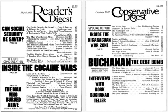 Covers of Reader's Digest and Conservative Digest