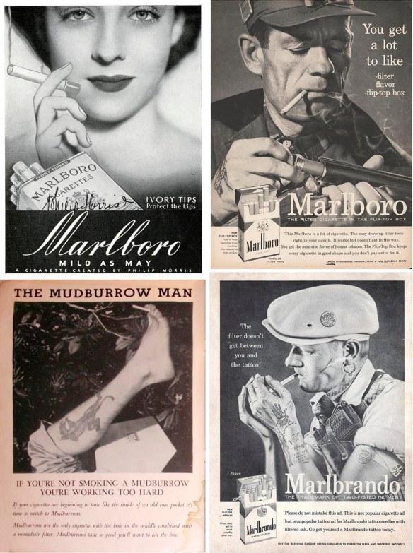 Real and fake Marlboro ads.