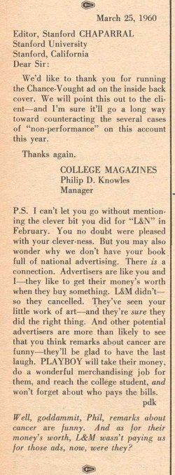 College Magazines' letter