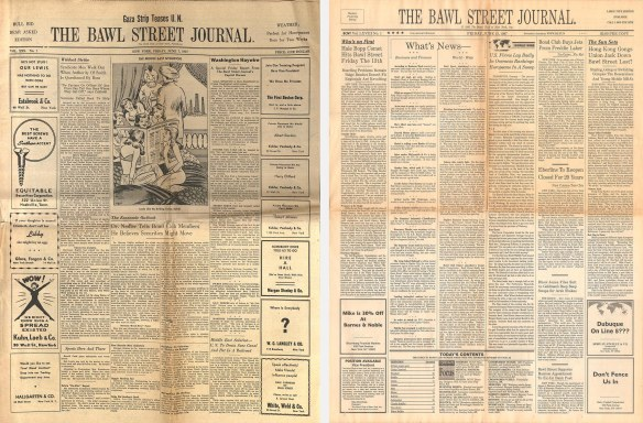 Bawl Street Journals from 1957 and 1997
