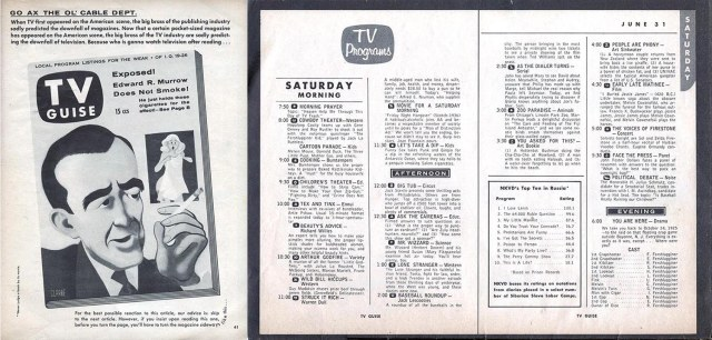 """Three pages of Mad's 1957 """"TV Guise."""""""