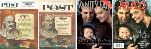 Real and parody covers of SatEvePost and Vanity Fair.