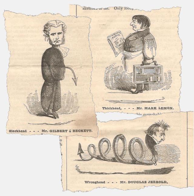 Caricatures of three Punch men