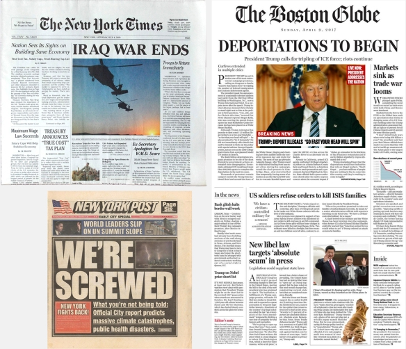 Parodies of the New York Times, New York Post and Boston Globe.