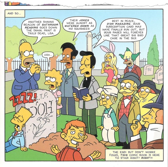 """Simpson's panel of """"Doh!"""" mag's funeral"""