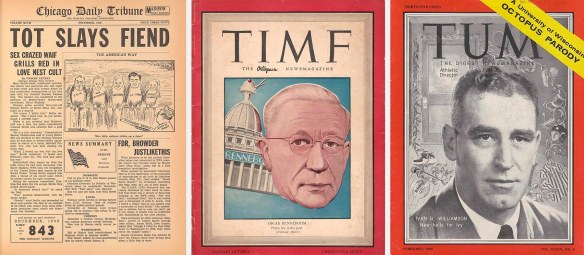 Covers of Chicago Tribune and Time parodies